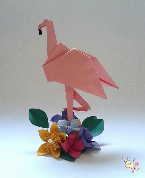 Easy origami flamingo centerpiece