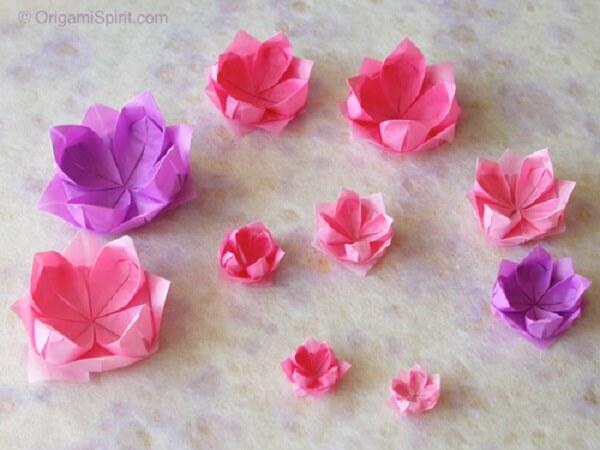 Origami fácil flor de lótus