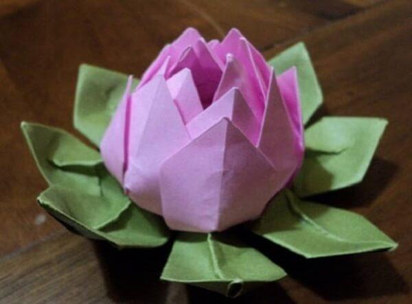 Easy origami white lotus flower