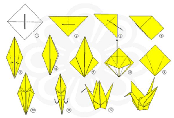 Easy origami step by step tsuru