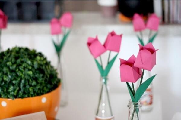 Origami fácil tulipas