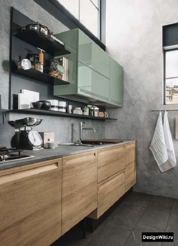 Os armários aéreos trazem um toque sofisticado para a cozinha modulada. Fonte: Pinterest