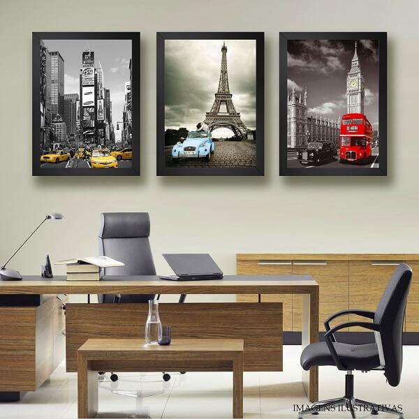 Os quadros para escritório apresentam moldura preta