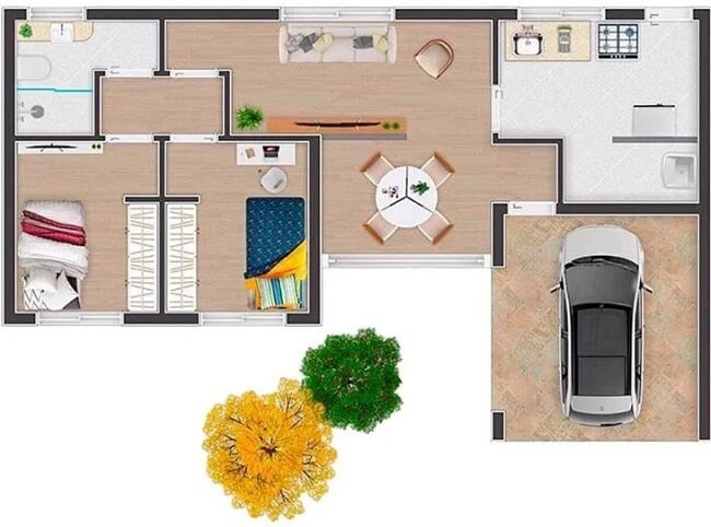 Plantas de casas com 2 quartos de solteiro