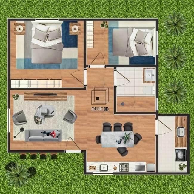 Plantas de casas onde a sala de estar, sala de jantar e cozinha se integram