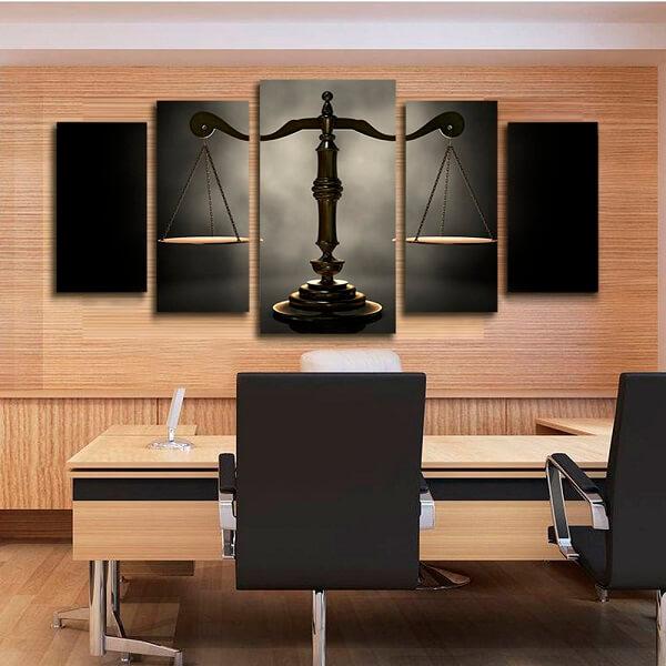 Quadros para escritório com desenho da balança da justiça