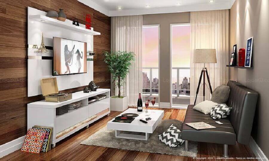 Rack com painel branco para sala de estar