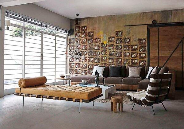 Recamier, sofá e poltrona costela para a decoração da sala de estar