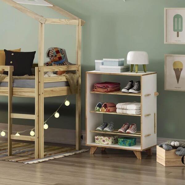 Modelo de sapateira retrô infantil de madeira