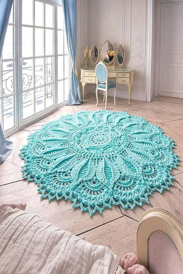Tapete de crochê azul tiffany quarto