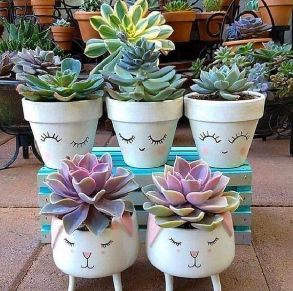 Vasos para suculentas com carinhas