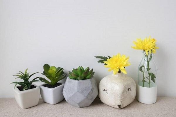 Vasos para suculentas de cimento em diferentes formatos