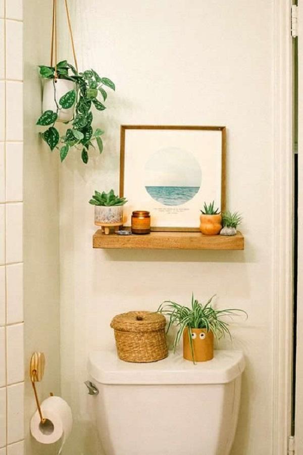 Vasos para suculentas no banheiro