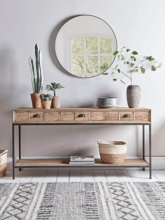 Aparador para sala de estar de ferro e madeira para decoração industrial