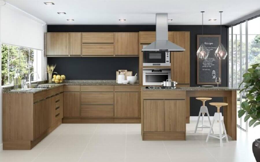 armários de madeira para cozinha modulada com ilha Foto Decibal