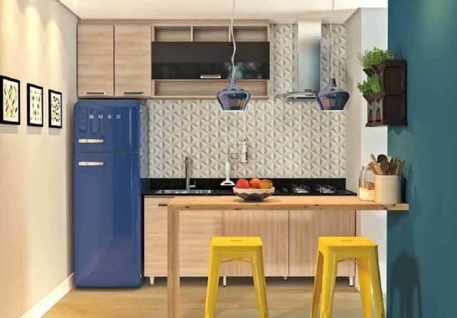 armários de madeira para cozinha modulada pequena Foto Panorama Móveis