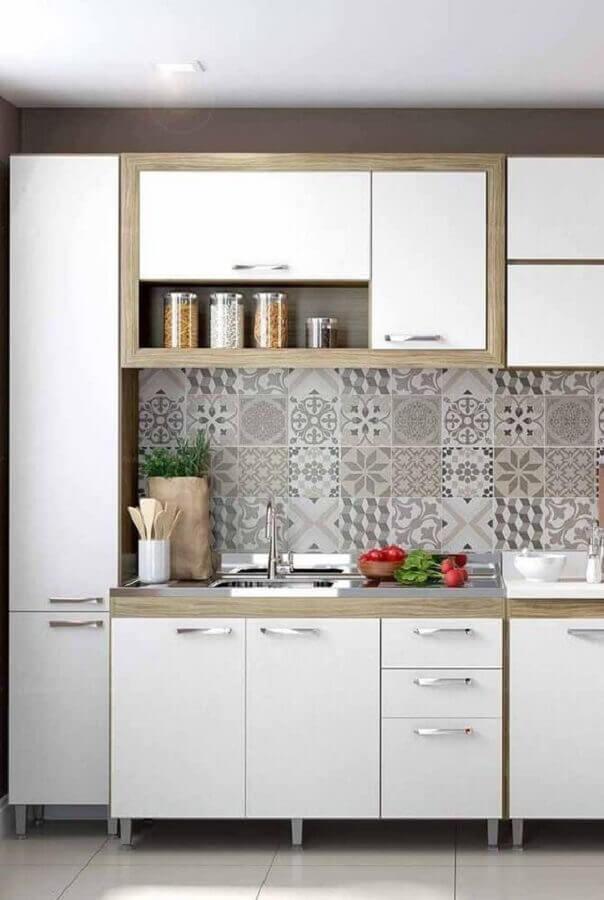 azulejo estampado para cozinha modulada branca Foto Pinterest