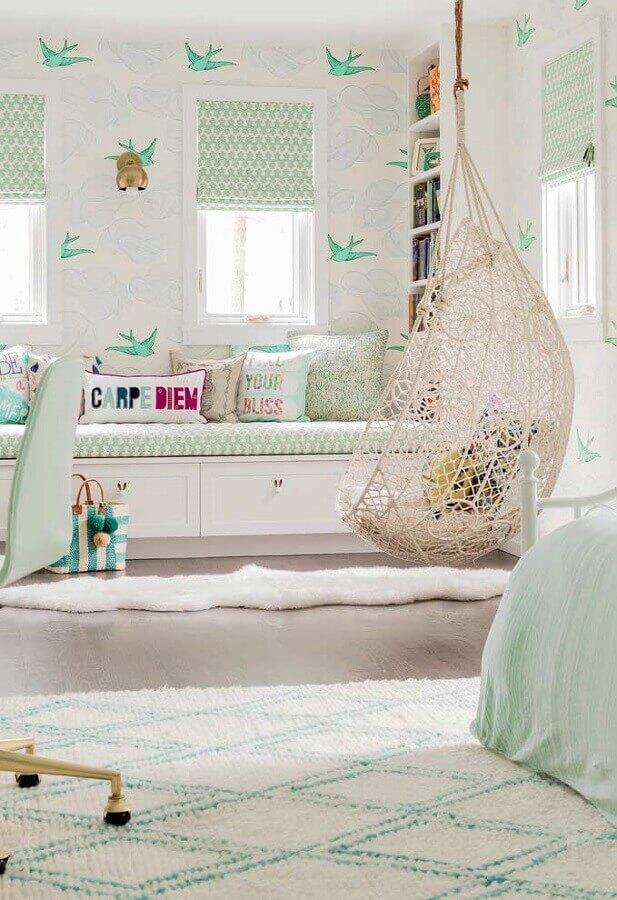 balanço redondo para decoração de quarto de menina branco Foto Pinterest