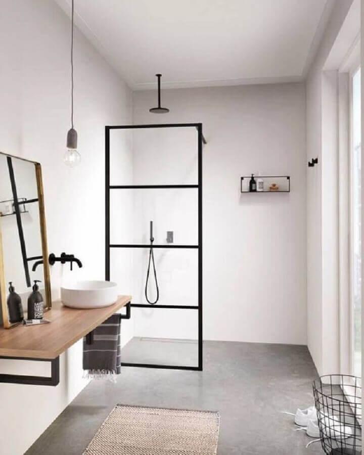 bancada de madeira com cuba redonda para banheiro minimalista Foto Shake My Blog