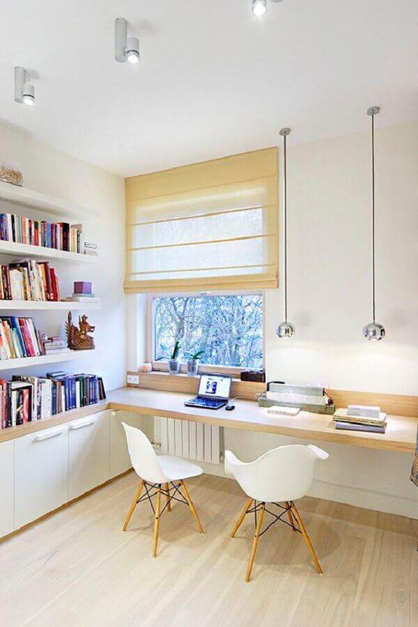 bancada de madeira para mesa de escritório Foto Eu Amo Decoração