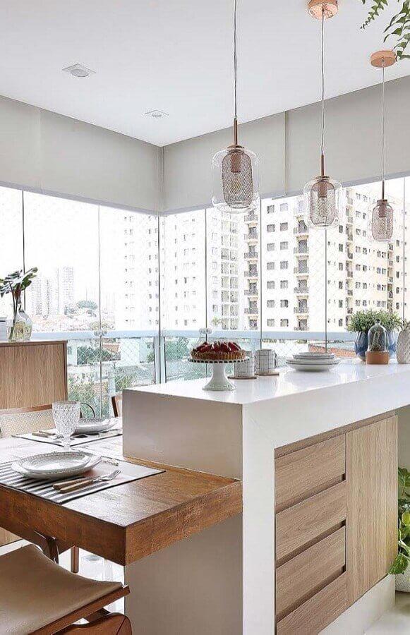 bancada gourmet branca com madeira para varanda de apartamento Foto Archilovers