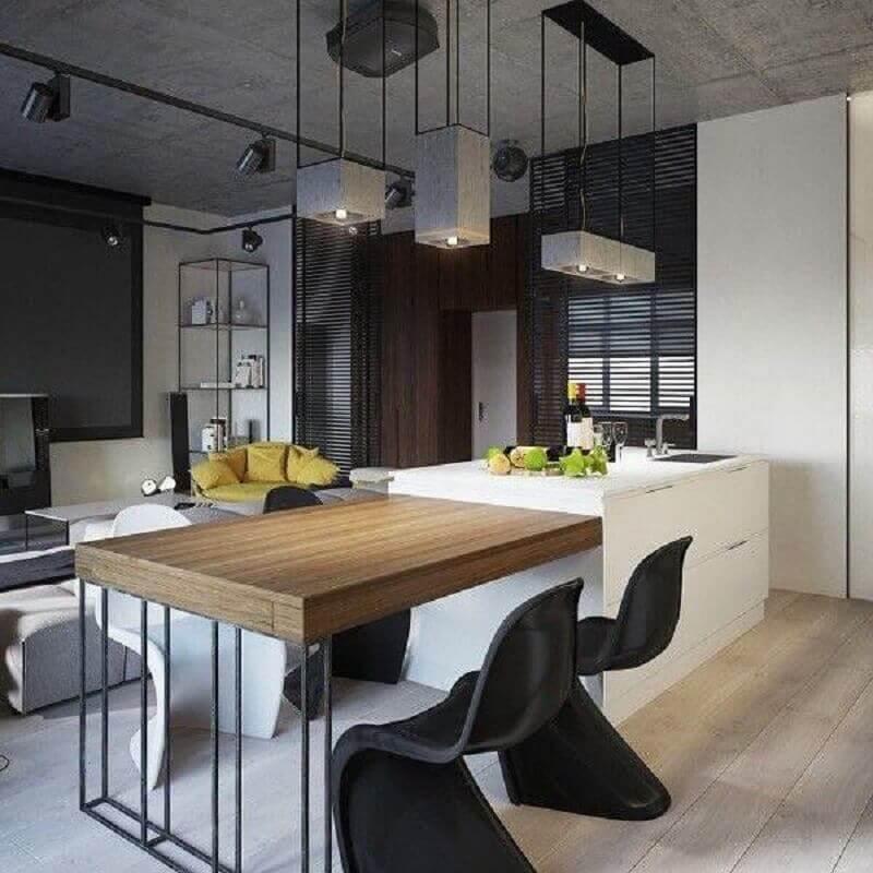 bancada gourmet para cozinha moderna integrada com sala de estar Foto Pinterest