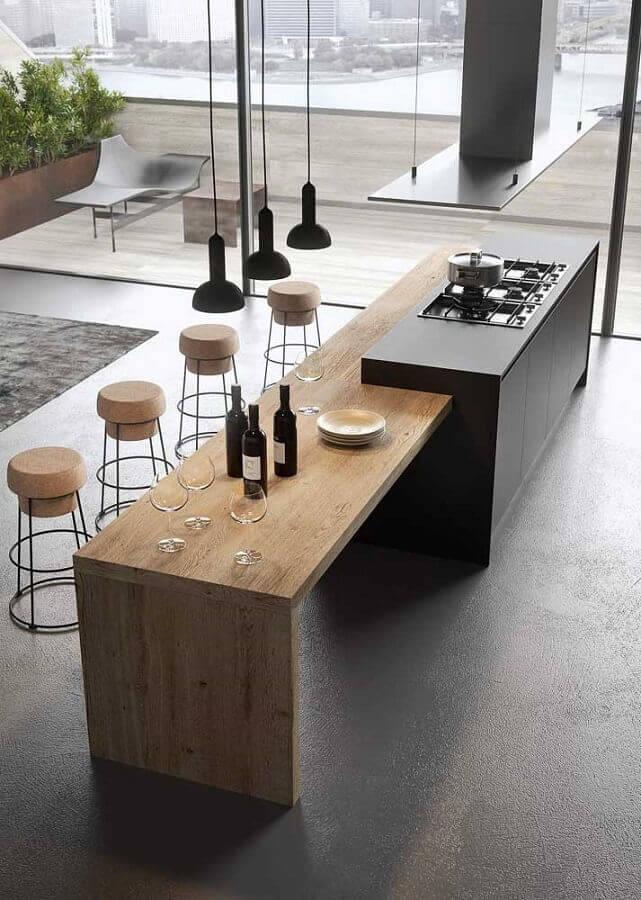 bancada gourmet para cozinha preta ampla e sofisticada Foto ArchDaily