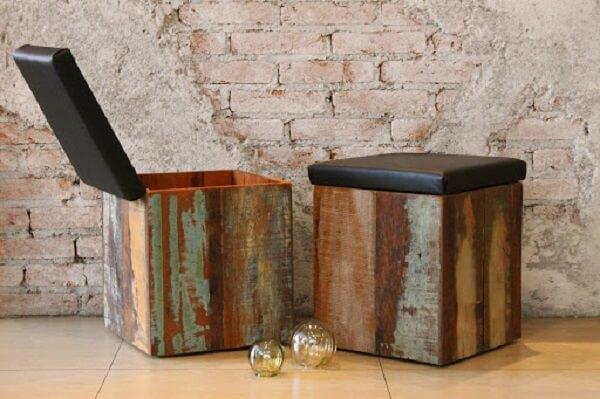 banco baú de madeira madeira de demolição