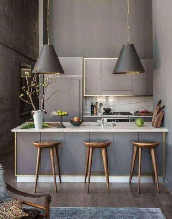 banco de madeira rústico cozinha cinza