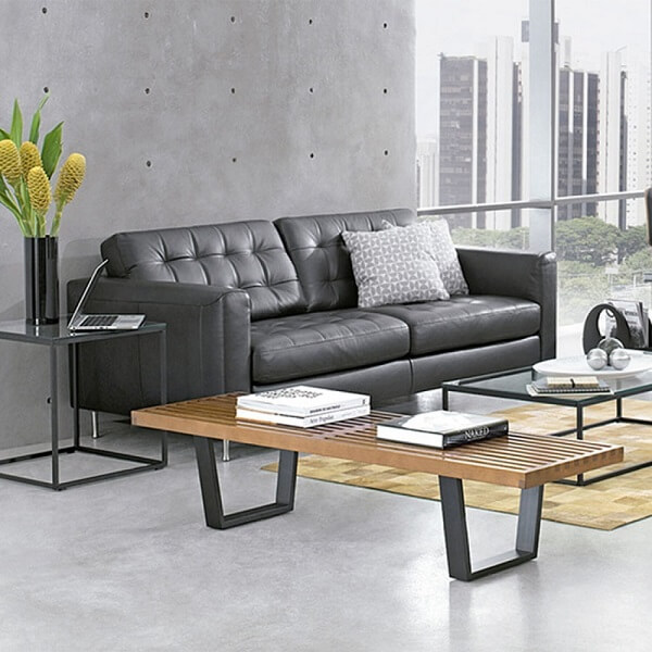 bancos de madeira para sala sofá preto