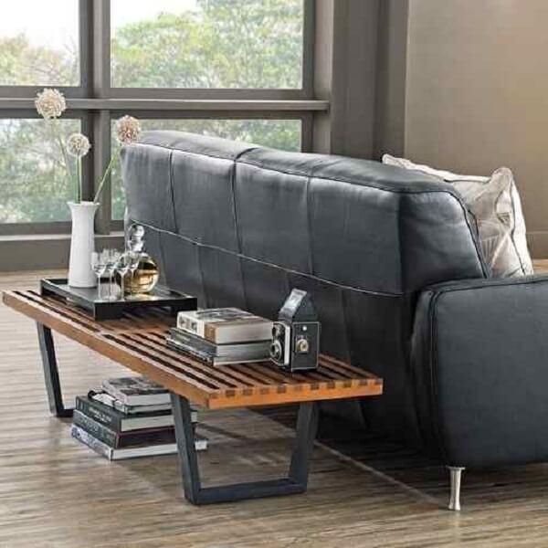 bancos de madeira para sala sofá cinza