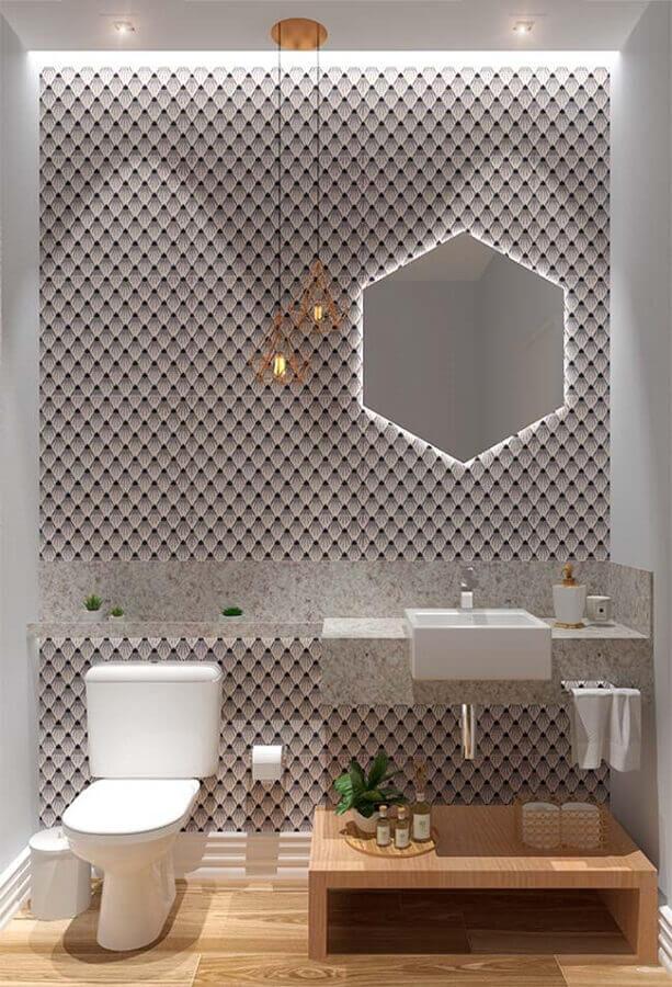 banheiro decorado com papel de parede 3d Foto Pinterest