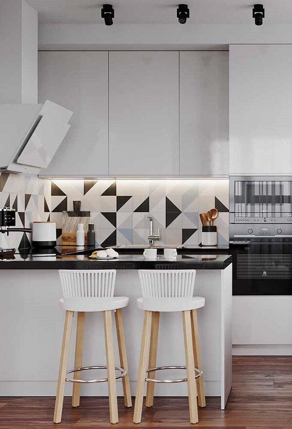banqueta branca para cozinha clean