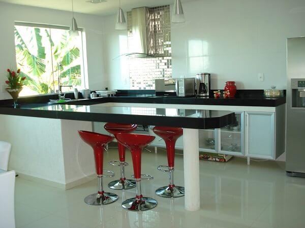 banqueta vermelha para cozinha