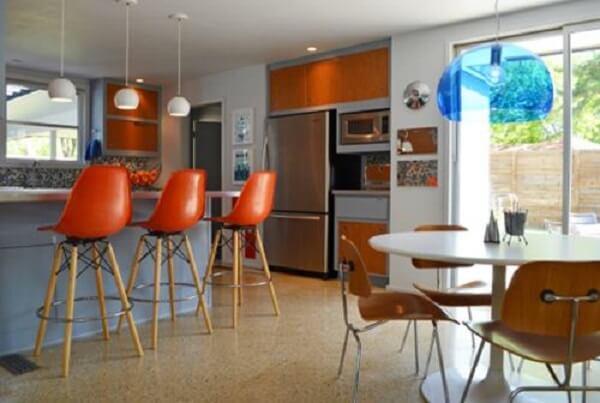 banquetas modernas para cozinha laranja