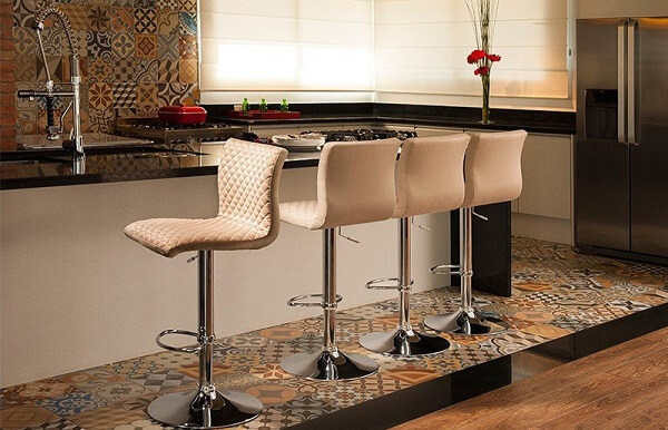 banquetas para balcão de cozinha branca giratória