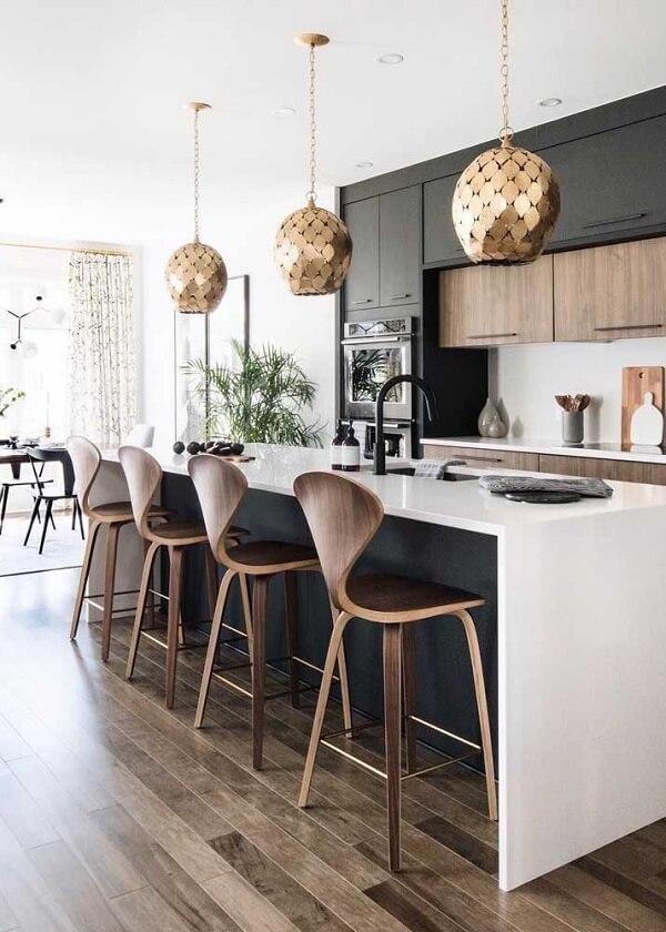 banquetas para cozinha gourmet de madeira