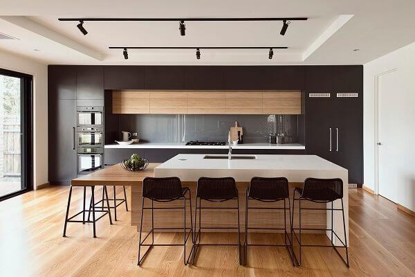 banquetas para ilha de cozinha banqueta preta