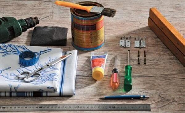 Materiais necessários para fazer o biombo de madeira e tecido
