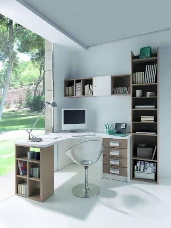 cadeira de acrílico transparente para escrivaninha de canto com estante Foto Pinterest