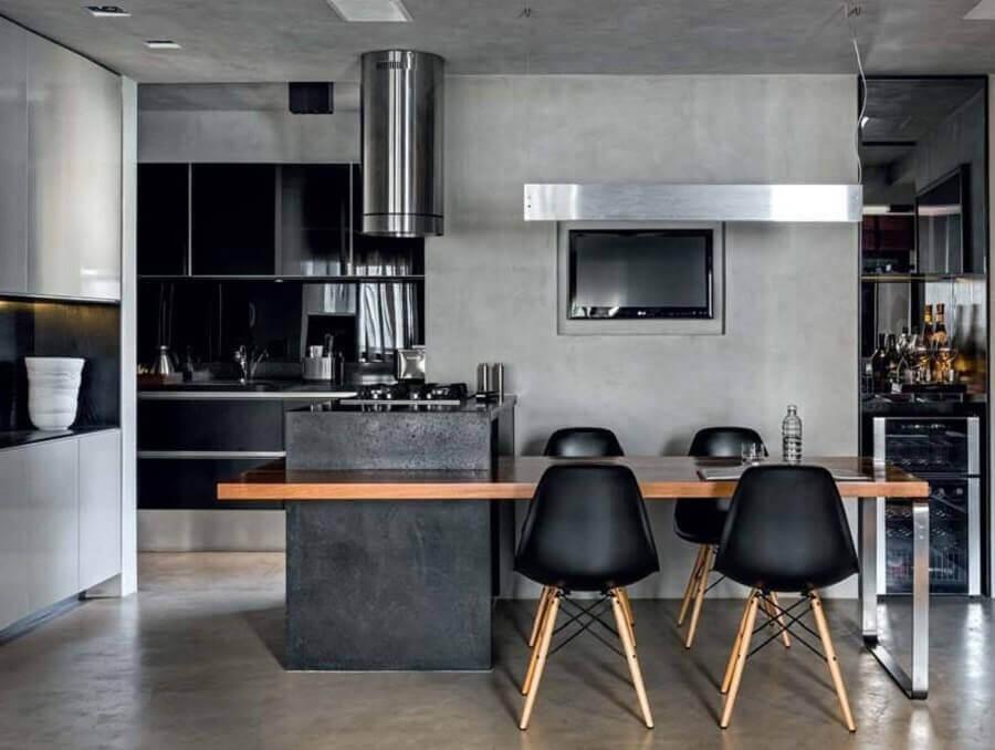 cadeira eames preta para cozinha cinza super moderna Foto Blog Pandas