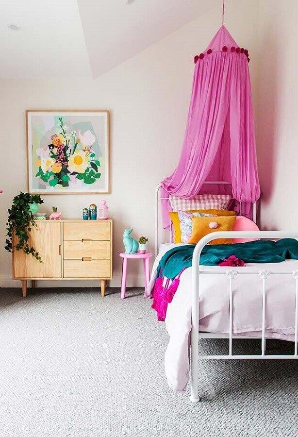 cama com dossel rosa para quarto de menina simples Foto Pinterest