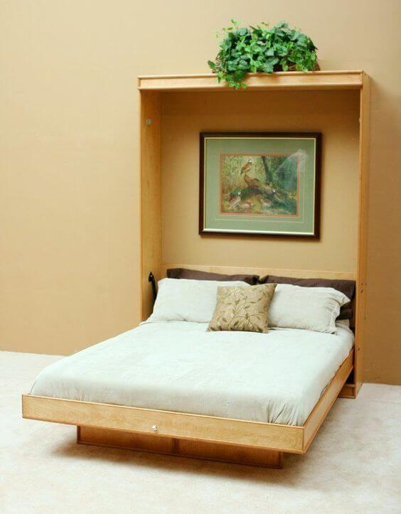 Cama retrátil simples e prática para quarto pequeno