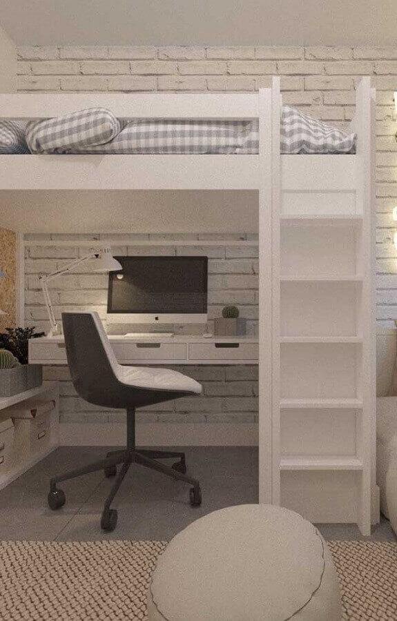 cantinho de estudo planejado embaixo de cama suspensa Foto Pinterest