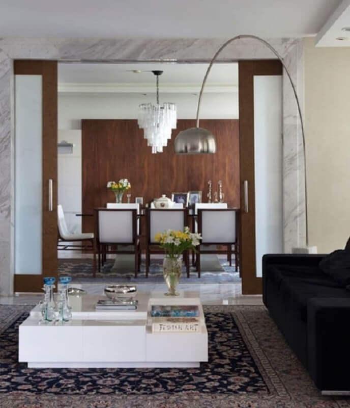 casa decorada com porta francesa de correr de madeira Foto Dicas de Mulher