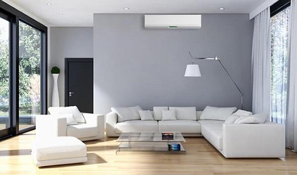 como instalar ar condicionado sala cinza
