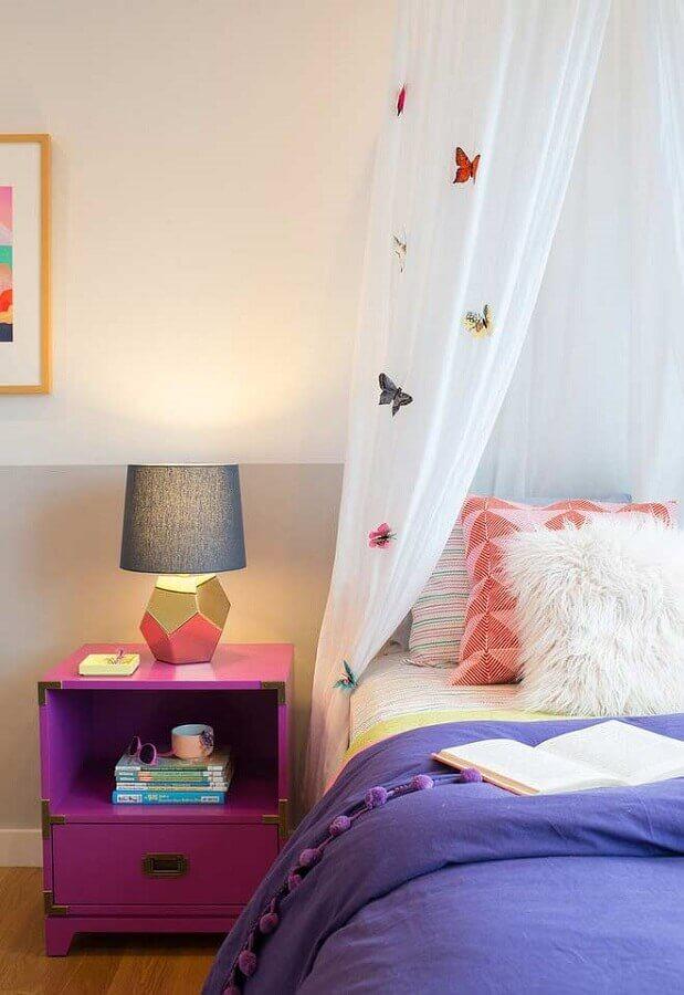 cortina para quarto de menina com borboletas coloridas Foto Ideias Decor