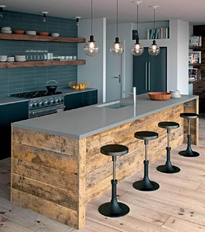 cozinha com bancada gourmet com pia Foto Casa e Jardim