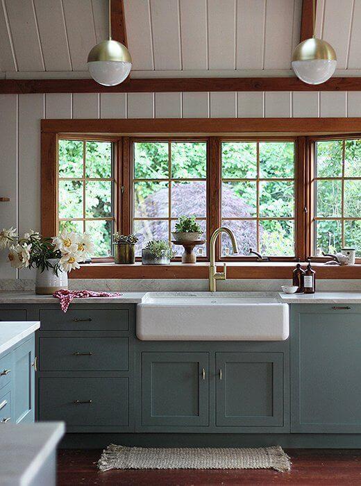 Janelas de madeira para cozinha moderna