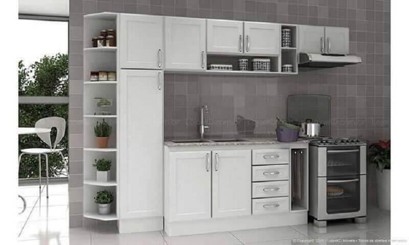 cozinha modulada branca com armários clássicos Foto Lojas KD